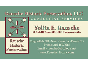 Business Card for Rausche Historic Preservation developed by Westervelt Design