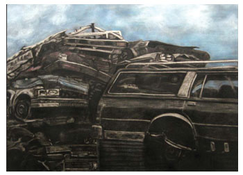 Charcoal study of salvage yard by Stacy Westervelt