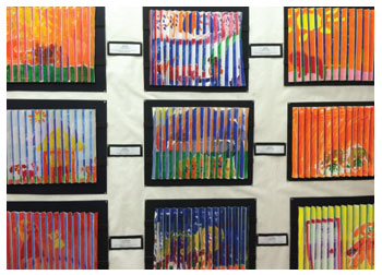 Accordion paintings by elementary students of Stacy Westervelt